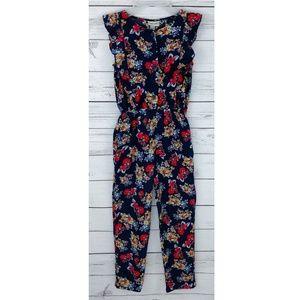 Cherokee Floral Sleeveless Ruffle Rayon Jumpsuit